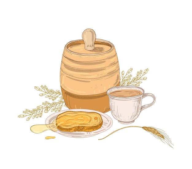 Dibujo elegante de barril, miel dulce en rebanada de pan o tostadas en plato, taza de té e inflorescencia de acacia.