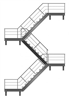 Dibujo de la escalera de incendios para la fachada.