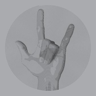 Dibujo espiral estilo metal dedo.