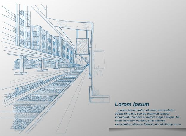 Dibujo de la estación de tren.