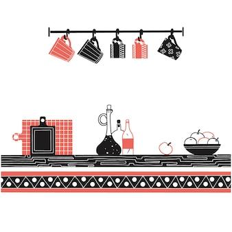 Dibujo de estanterías con diferentes utensilios. vector