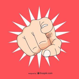 Dibujo estilo pop art de mano señalando
