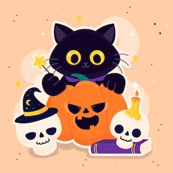 Dibujo de gato festival de halloween