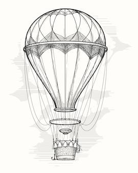 Dibujo de globo de aire caliente retro