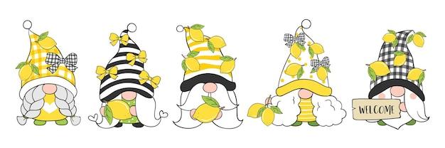 Dibujo de gnomo de limón para primavera y verano.