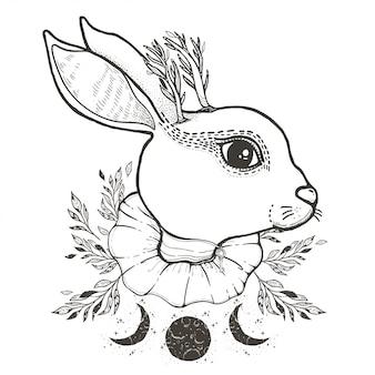 Dibujo gráfico ilustración conejo de circo con símbolos místicos y ocultos dibujados a mano.