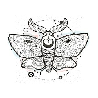 Dibujo gráfico ilustración hermosa polilla con místicos y ocultos símbolos dibujados a mano.