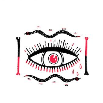 Dibujo gráfico de ilustración de ojo con mística y ocultismo.