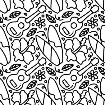 Dibujo de hawaii dibujado a mano con iconos y elementos de diseño