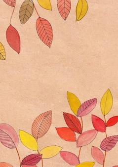 Dibujo de hojas de colores y lavado con acuarela