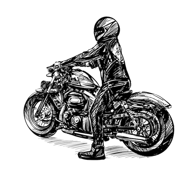 Dibujo de un hombre de negro montando una motocicleta clásica