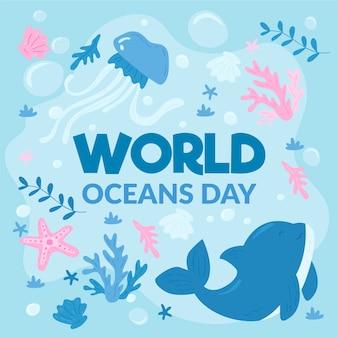 Dibujo de la ilustración del día mundial de los océanos