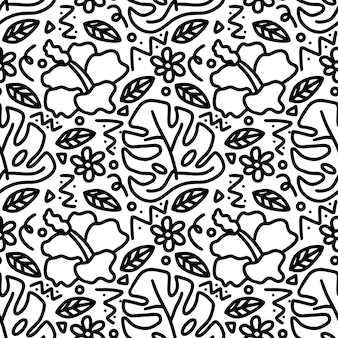 Dibujo de jardín dibujado a mano con iconos y elementos de diseño
