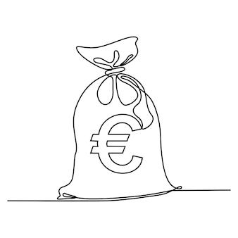 Dibujo de línea continua de bolsa de dinero símbolo de moneda icono de inversión signo bancario