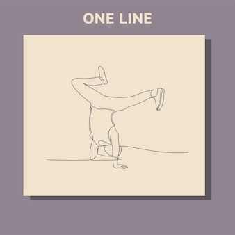 Dibujo de línea continua de break dancer realizando algunos movimientos.
