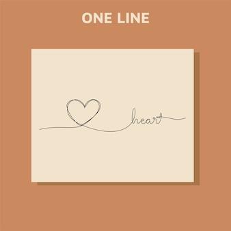 Dibujo de línea continua del concepto de amor de los iconos del corazón.