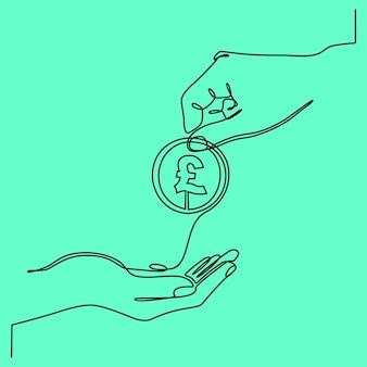 Dibujo de línea continua dar o pagar dinero facturas en euros concepto de préstamo y finanzas de soborno