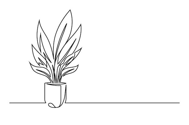 Dibujo de línea continua de una flor en una maceta