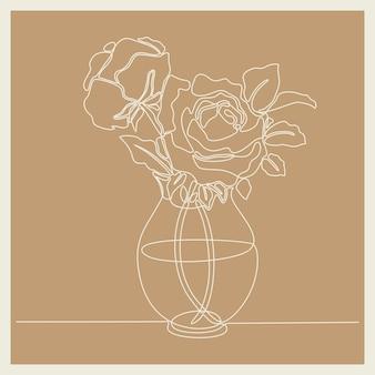 Dibujo de línea continua de hermosa flor rosa fresca en la ilustración de vector de florero de porcelana