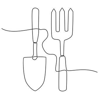 Dibujo de línea continua de herramientas de jardín ilustración vectorial