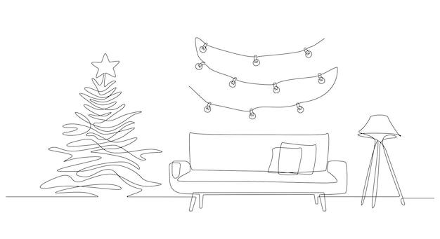 Un dibujo de línea continua del interior navideño con lámpara de sofá y árbol de navidad y guirnalda
