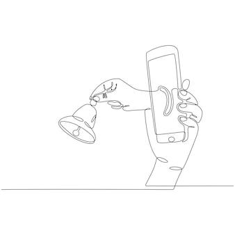 Dibujo de línea continua de una mano sosteniendo un teléfono inteligente con vector de campanas de notificación