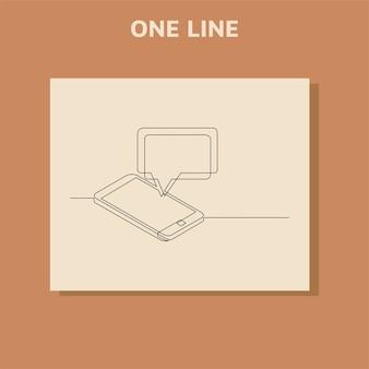 Dibujo de línea continua del mensaje de chat en el teléfono inteligente.