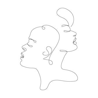 Dibujo de línea continua de rostros de mujeres. arte de línea facial. concepto de moda, belleza de mujer