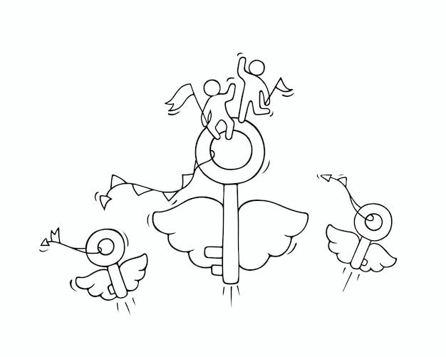 Dibujo de llaves voladoras con pequeños trabajadores. doodle linda miniatura sobre idea de negocio