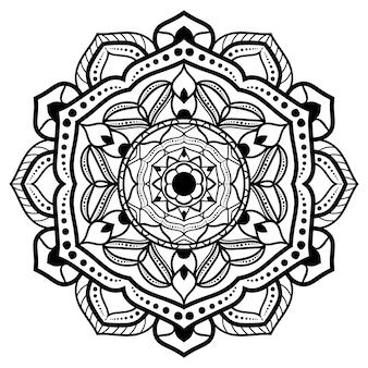 Dibujo de mandala blanco y negro
