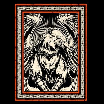 Dibujo de mano de águila de estilo grunge