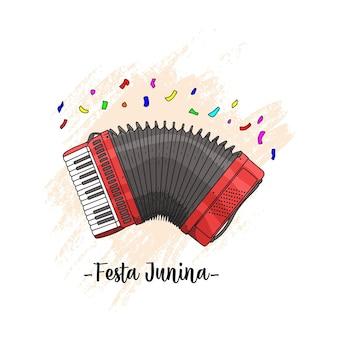 Dibujo a mano de un akordeon para la festa junina