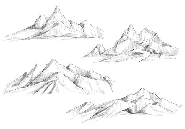 Dibujo a mano alzada, paisaje de montaña, diseño de bocetos