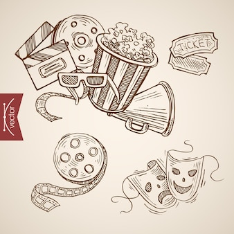 Dibujo a mano alzada. palomitas, vasos, cine, entradas, máscaras teatrales.