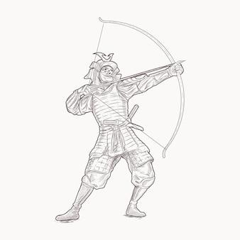 Dibujo a mano arquero samurai