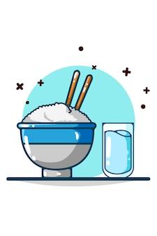 Dibujo a mano de arroz y agua mineral.
