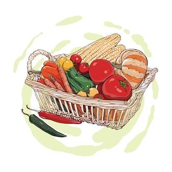 Dibujo a mano de batatas, patatas, calabaza y zanahorias en una cesta de mimbre