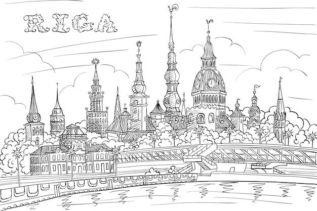 Dibujo a mano en blanco y negro, bosquejo del casco antiguo y el río daugava, riga, letonia