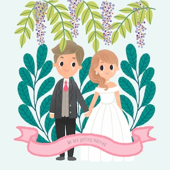 Dibujo a mano boda pareja personaje de pie de la mano sale del marco de fondo