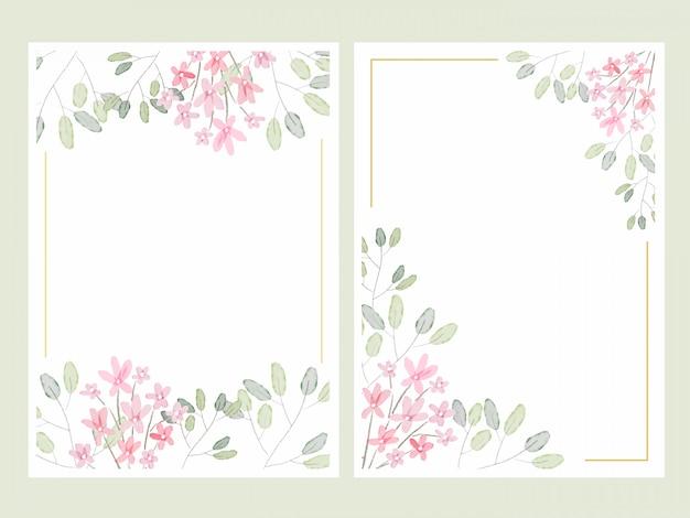 Dibujo a mano botánica acuarela hojas con pequeñas flores de color rosa plantilla de tarjeta de invitación de boda colección 5x7