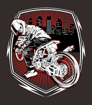 Dibujo de mano de carreras de motos calavera