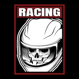Dibujo de mano de casco de calavera de carreras