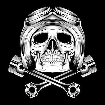 Dibujo de mano de casco de cráneo