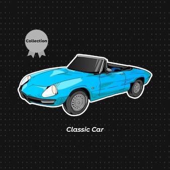 Dibujo a mano de color azul de coche clásico