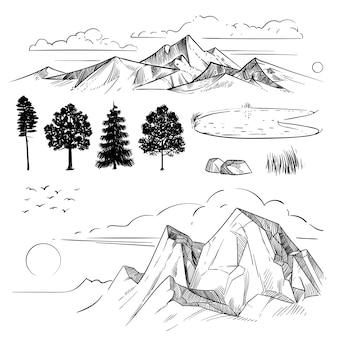 Dibujo a mano de la cordillera, picos de nubes, sol y árboles forestales. montañas retro y elementos del paisaje aislados