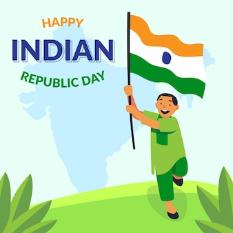 Dibujo a mano del día de la república india