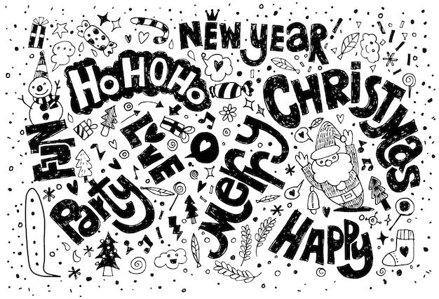 Dibujo a mano doodle fondo de navidad