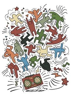 Dibujo a mano doodle ilustración de gente divertida a la fiesta
