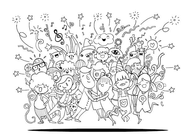 Dibujo a mano doodle de personas divertidas