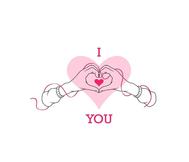 Dibujo a mano dos manos en forma de corazón en estilo de arte lineal para el día de san valentín